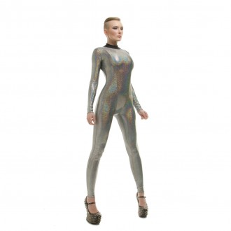 Holographic Silver Glitter Catsuit 02 Angle